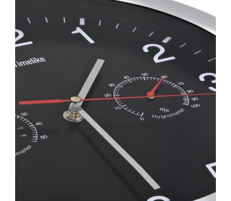 vidaXL Wanduhr mit Quarzwerk, Hygrometer und Thermometer 30 cm Schwarz[3/6]