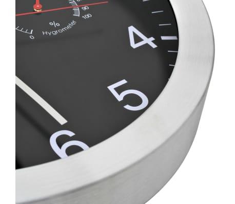 vidaXL vægur med kvarts-urværk hygrometer og termometer 30 cm sort[4/6]