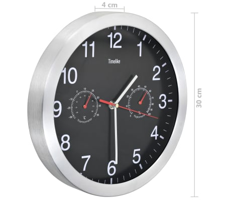 vidaXL Wanduhr mit Quarzwerk, Hygrometer und Thermometer 30 cm Schwarz[5/6]