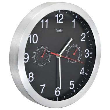 vidaXL vægur med kvarts-urværk hygrometer og termometer 30 cm sort[2/6]