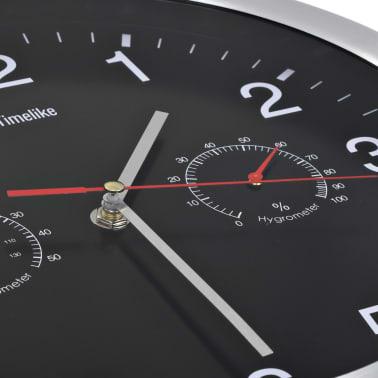 vidaXL vægur med kvarts-urværk hygrometer og termometer 30 cm sort[3/6]