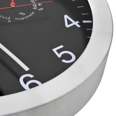 vidaXL Wanduhr mit Quarzwerk, Hygrometer und Thermometer 30 cm Schwarz[4/6]