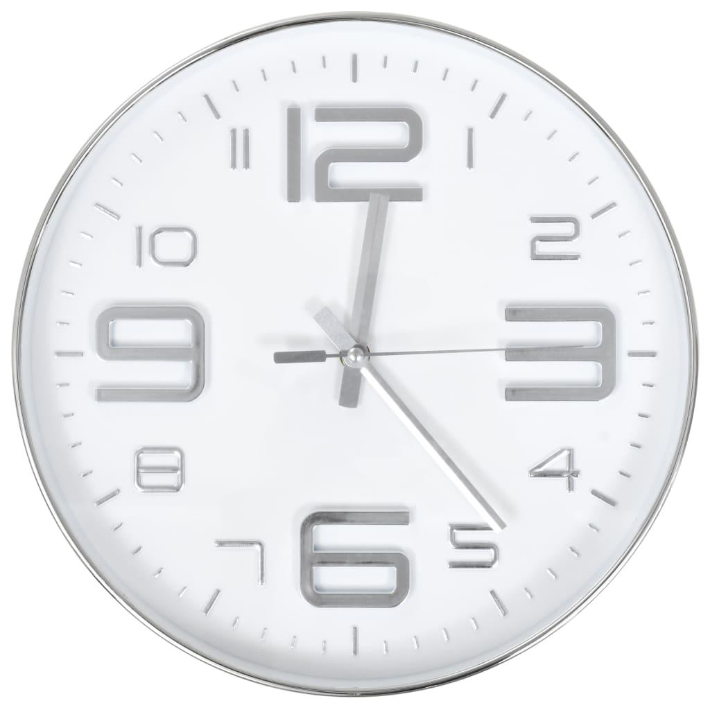 vidaXL Ceas de perete, argintiu, 30 cm vidaxl.ro