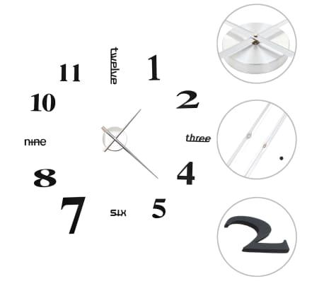 vidaXL Ceas de perete 3D, negru, 100 cm, XXL, design modern