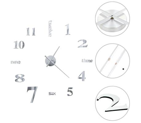 vidaXL Relógio de parede 3D com design moderno 100 cm XXL prateado
