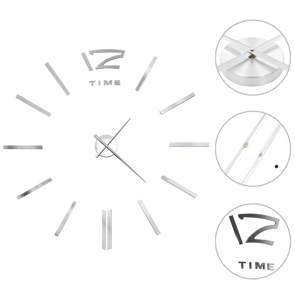 vidaXL Ceas de perete 3D, argintiu, 100 cm, XXL, design modern poza 2021 vidaXL