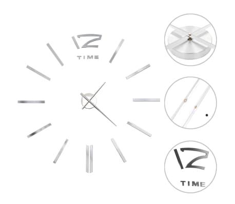 vidaXL 3D Wall Clock Modern Design 100 cm XXL Silver