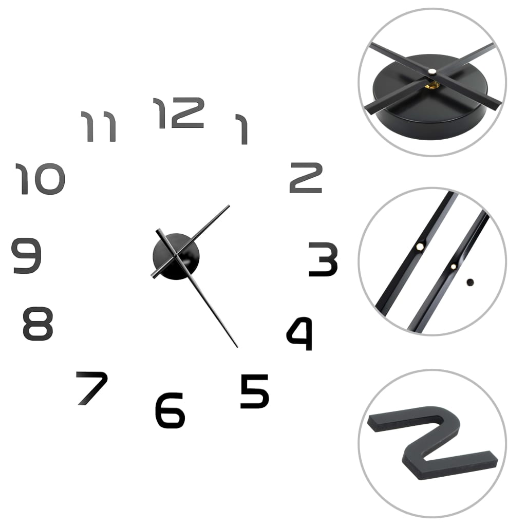 vidaXL Ceas de perete 3D, negru, 100 cm, XXL, design modern poza 2021 vidaXL