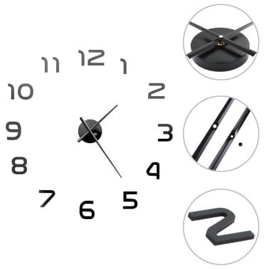 vidaXL Orologio da Parete 3D in Stile Moderno 100cm XXL Nero[1/5]