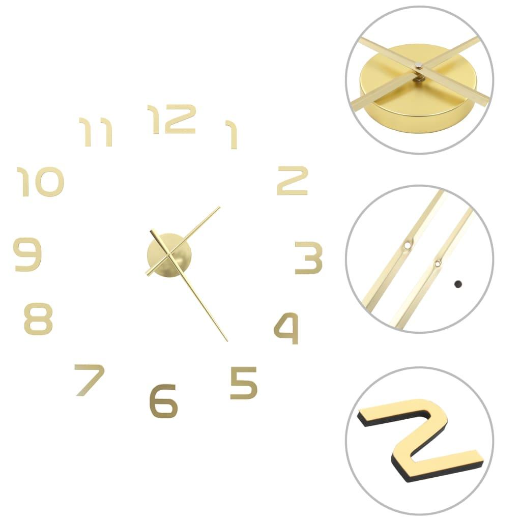 vidaXL Ceas de perete 3D, auriu, 100 cm, XXL, design modern poza 2021 vidaXL