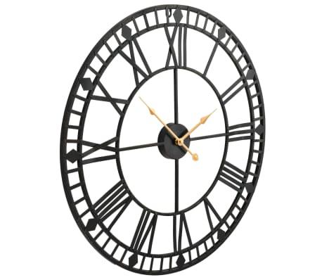 vidaxl horloge murale vintage avec mouvement quartz m tal 60 cm xxl. Black Bedroom Furniture Sets. Home Design Ideas