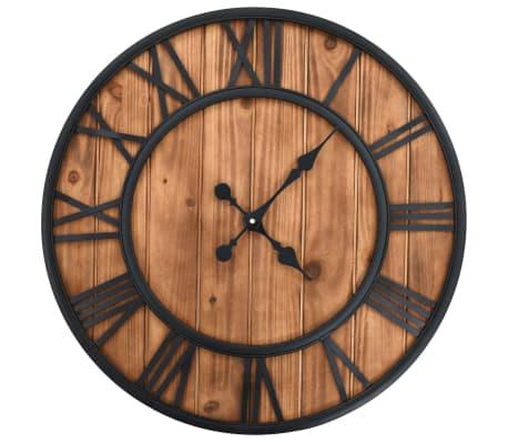 vidaXL Wanduhr Vintage mit Quarzwerk Holz und Metall 60 cm XXL