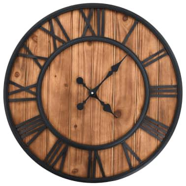 vidaXL Reloj de pared vintage movimiento cuarzo madera metal 60 cm XXL[1/6]