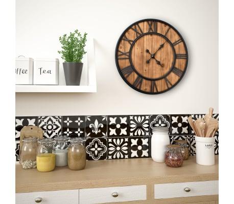 vidaXL Reloj de pared vintage movimiento cuarzo madera metal 60 cm XXL[2/6]