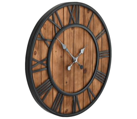 vidaXL Reloj de pared vintage movimiento cuarzo madera metal 60 cm XXL[3/6]