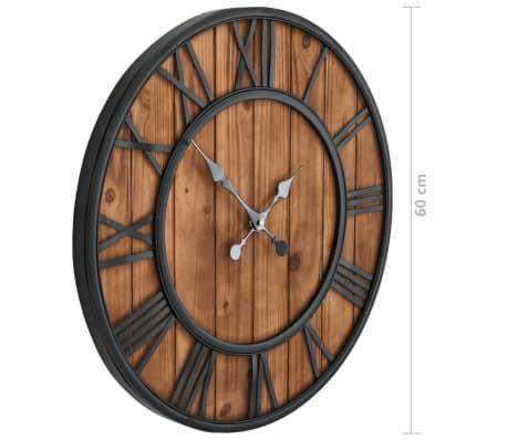 vidaXL Reloj de pared vintage movimiento cuarzo madera metal 60 cm XXL[6/6]