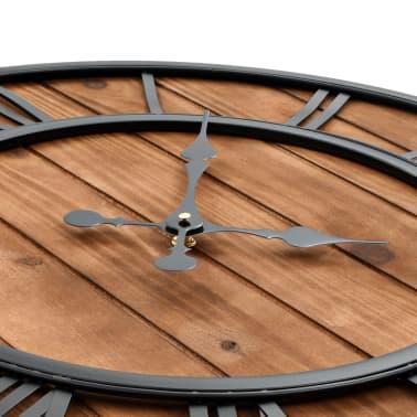 vidaXL Reloj de pared vintage movimiento cuarzo madera metal 60 cm XXL[4/6]
