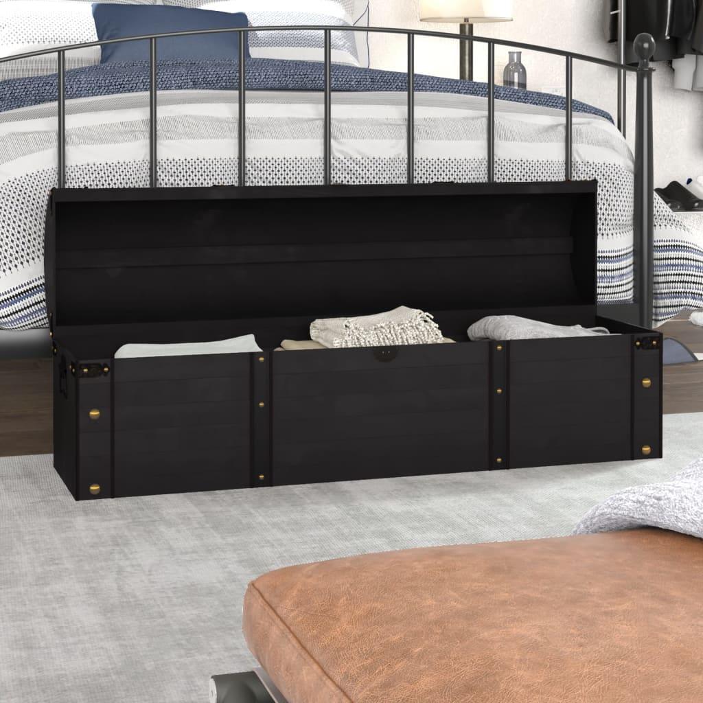 Úložná truhla z masivního dřeva vintage styl 120 x 30 x 40 cm