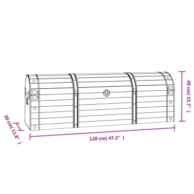 vidaXL Coffre de rangement Bois massif style vintage 120 x 30 x 40 cm[8/8]