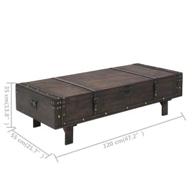 vidaXL Măsuță de cafea din lemn masiv, stil vintage, 120 x 55 x 35 cm[8/8]