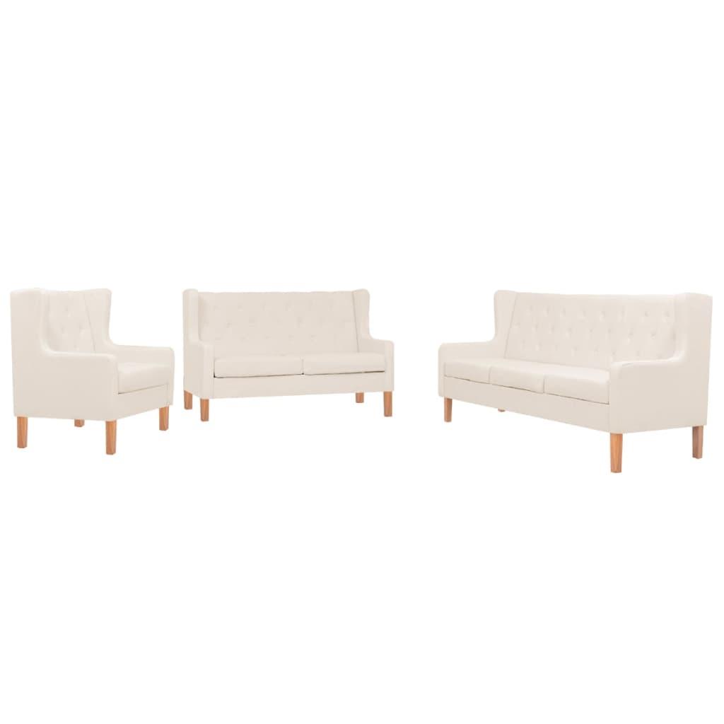 vidaXL Set de canapele, 3 piese, material textil, alb crem imagine vidaxl.ro
