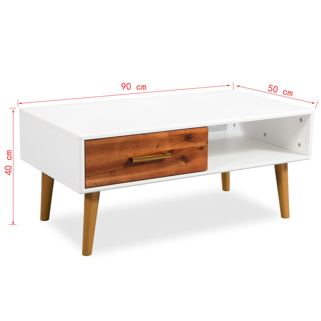 White Rectangular Low Coffee Table Retro Style Cabinet TV