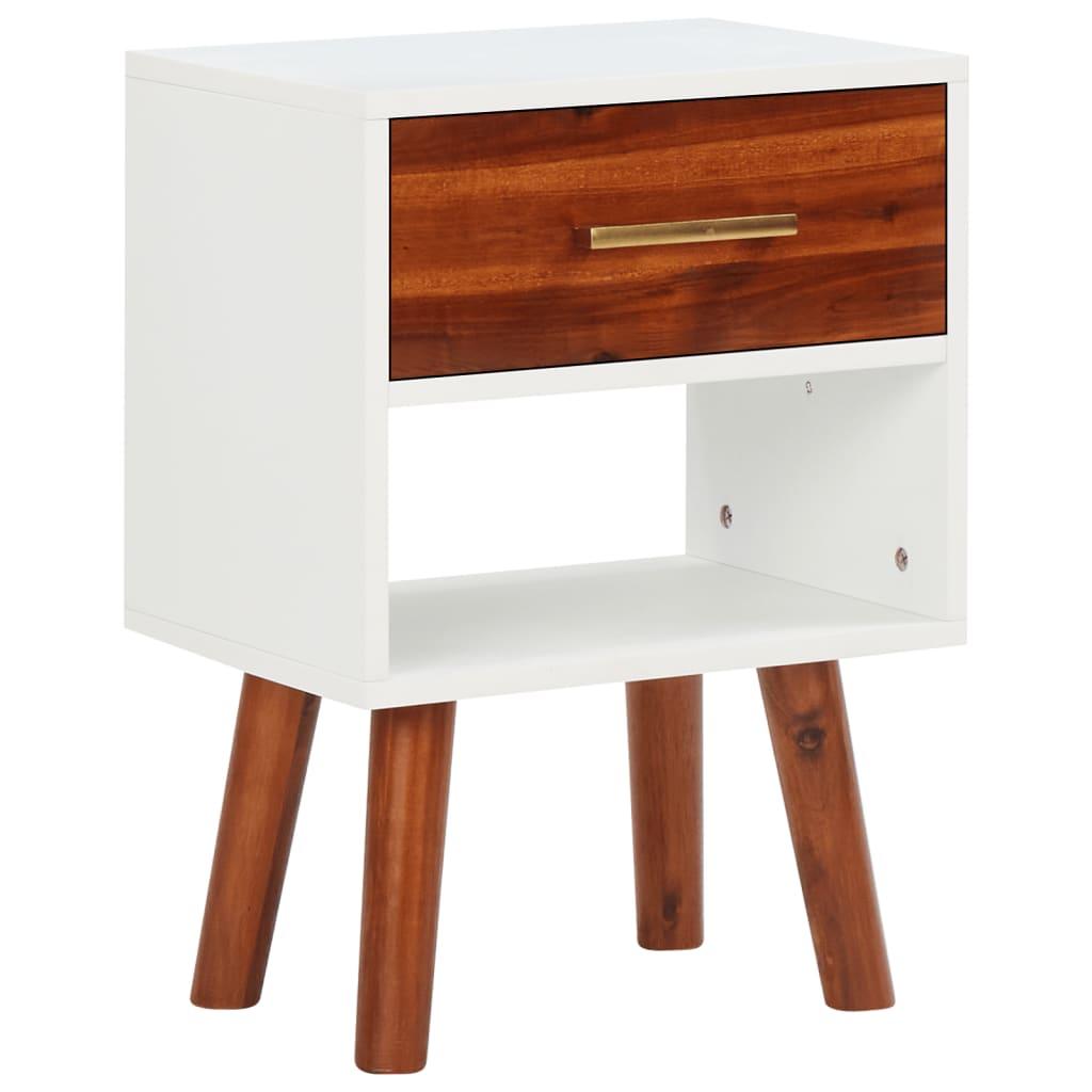 vidaXL Noptieră din lemn masiv de acacia, 40 x 30 x 45 cm poza 2021 vidaXL