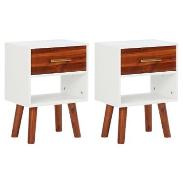 acheter vidaxl table de chevet 40 x 30 x 45 cm 2 pcs bois d 39 acacia massif pas cher. Black Bedroom Furniture Sets. Home Design Ideas