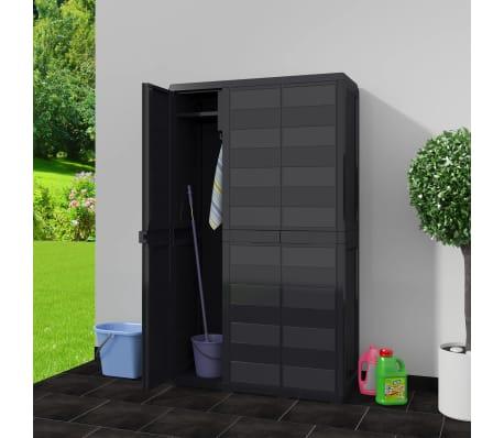 vidaXL Armoire de rangement de jardin avec 4 étagères Noir[2/11]