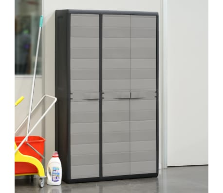 vidaXL Garden Storage Cabinet with 4 Shelves Black and Gray[3/11]