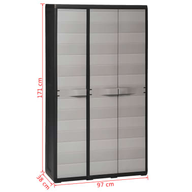 vidaXL Garden Storage Cabinet with 4 Shelves Black and Gray[11/11]