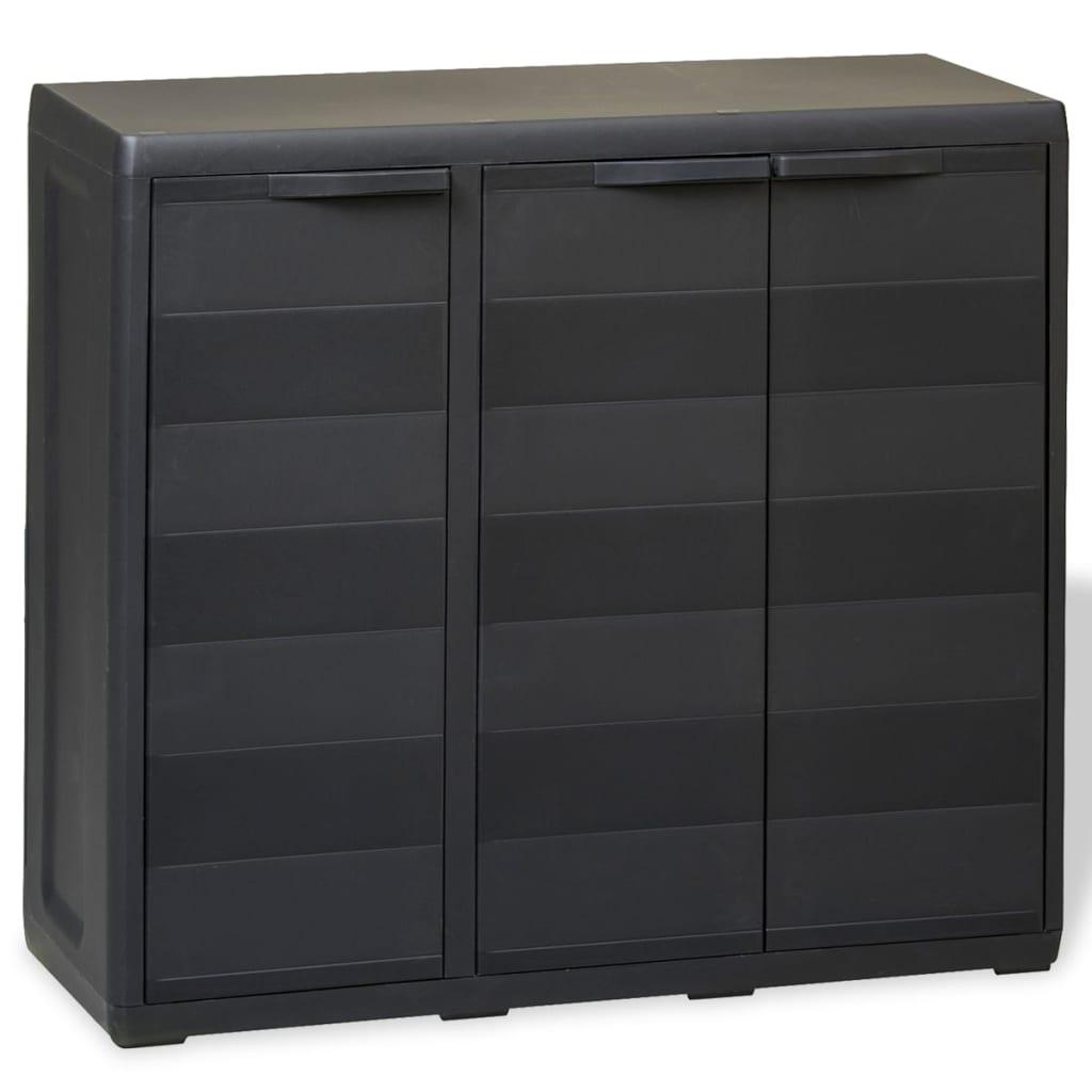 vidaXL Zahradní skladovací skříň se 2 policemi černá