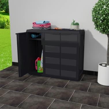 vidaXL Armoire de rangement de jardin avec 2 étagères Noir[2/9]