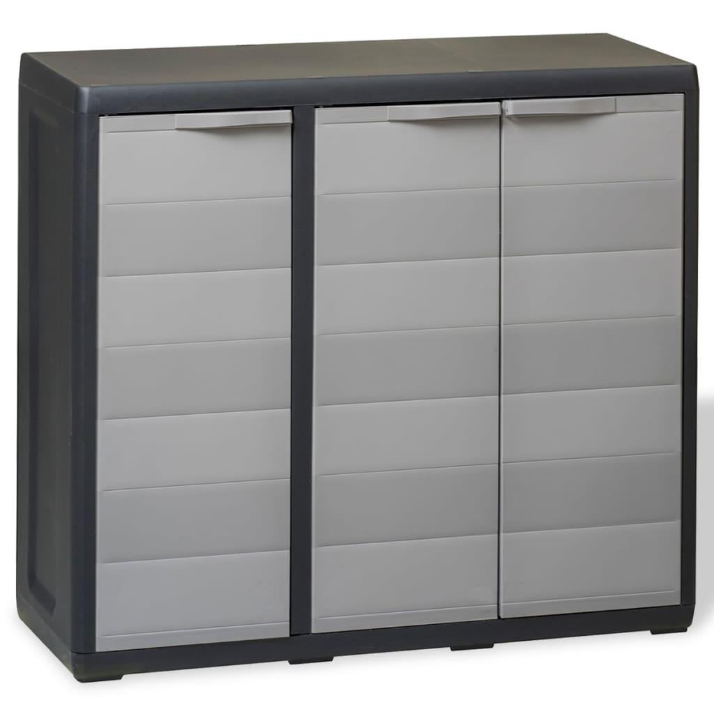 Zahradní skladovací skříň se 2 policemi černo-šedá