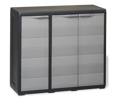vidaXL Garden Storage Cabinet with 2 Shelves Black and Grey