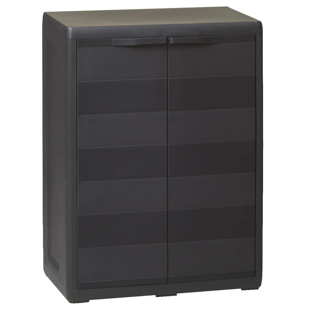 Zahradní skladovací skříň s 1 policí, černá