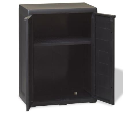 vidaXL Garden Storage Cabinet with 1 Shelf Black[3/9]