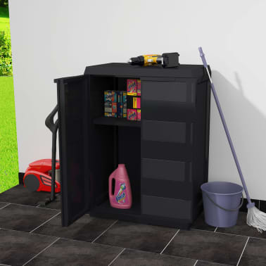 vidaXL Garden Storage Cabinet with 1 Shelf Black[2/9]
