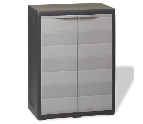 vidaXL Garden Storage Cabinet with 1 Shelf Black and Grey