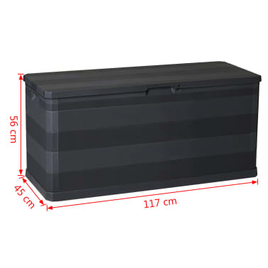 vidaXL Záhradný úložný box čierny 117x45x56 cm[8/8]