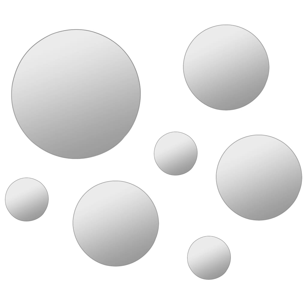vidaXL Wandspiegelset rond glas 7-delig
