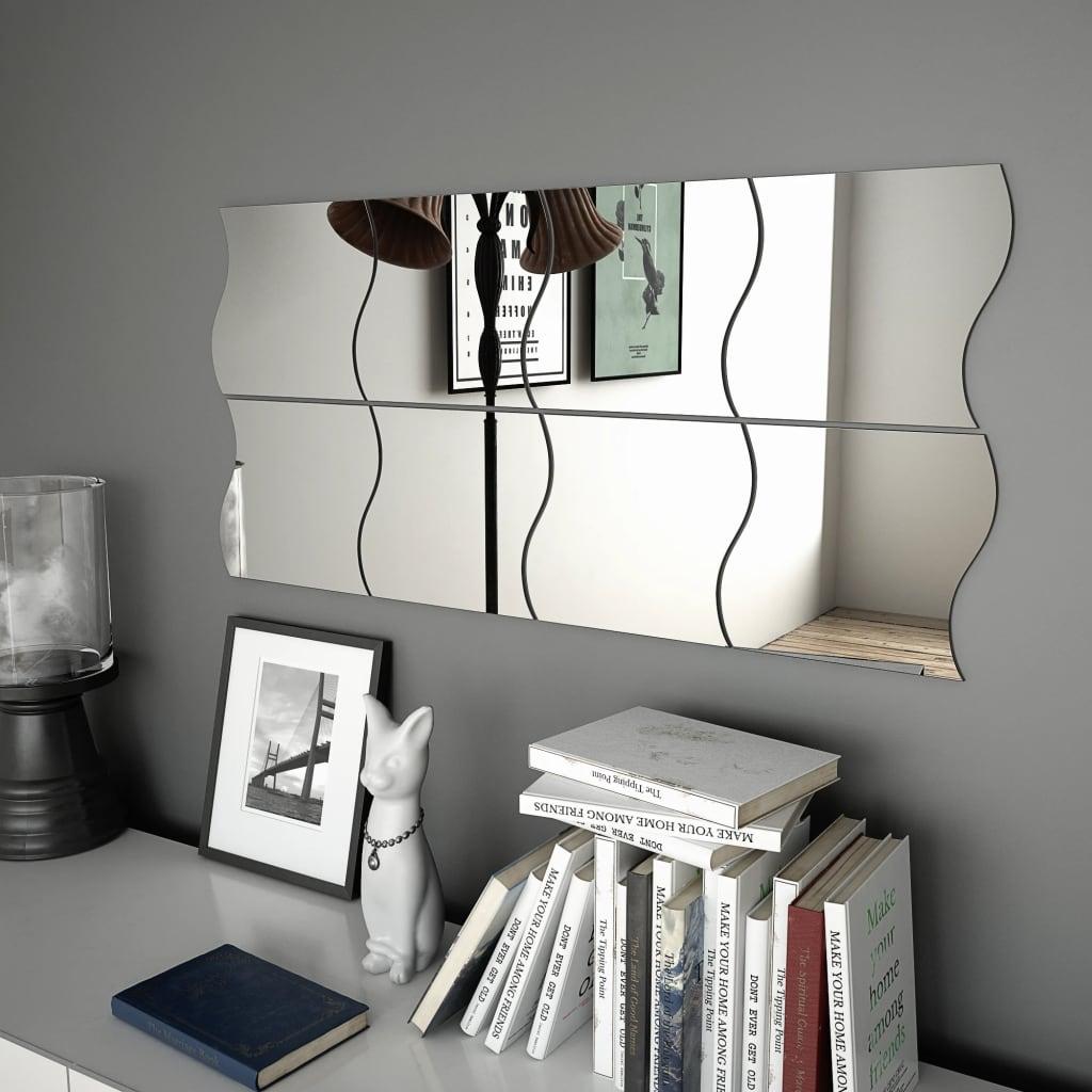 Nástěnná zrcadla 8 ks 20 x 20 cm vlnité sklo