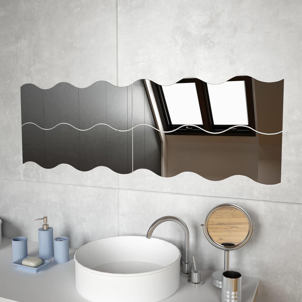 Nástěnná zrcadla 4 ks 60 x 18,5 cm vlnité sklo