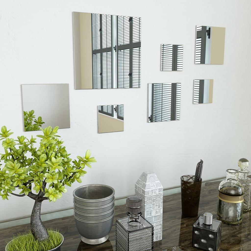 Sada nástěnných zrcadel 7 kusů čtvercové sklo