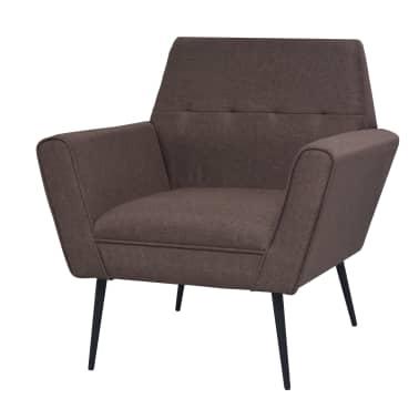 vidaXL Fotel tapicerowany materiałem, stalowe nogi, brązowy[1/7]