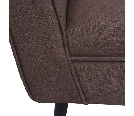 vidaXL Fotel tapicerowany materiałem, stalowe nogi, brązowy[4/7]
