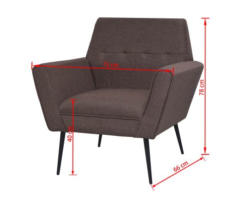 vidaXL Fotel tapicerowany materiałem, stalowe nogi, brązowy[7/7]