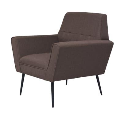 vidaXL Fotel tapicerowany materiałem, stalowe nogi, brązowy[2/7]
