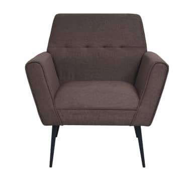 vidaXL Fotel tapicerowany materiałem, stalowe nogi, brązowy[3/7]