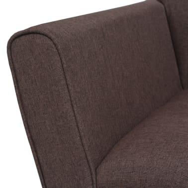 vidaXL Fotel tapicerowany materiałem, stalowe nogi, brązowy[5/7]